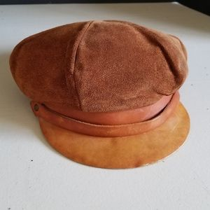 Vintage 70s leather newsboy driving cap